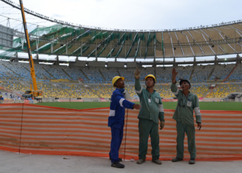 Workers at the Maracana