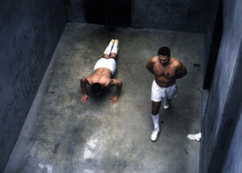 Pelican Bay SHU cellmates exercising in the yard.