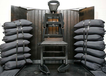 The firing squad execution chamber at Utah State Prison.