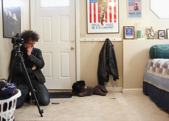 Ashley Gilbertson at work, shooting Bedrooms of the Fallen.