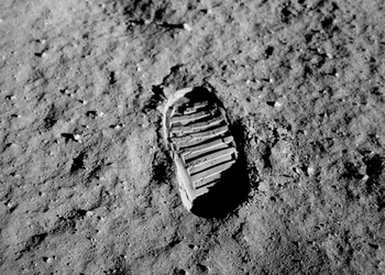 Aldrin's footprint on the moon