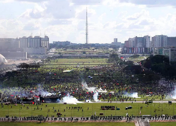 A huge demonstration against Michel Temer's government in Brasilia, May 24.