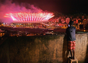 The closing ceremony, as seen from the favela.