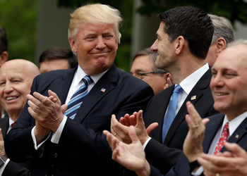Donald Trump and Paul Ryan celebrate the AHCA passing the House.