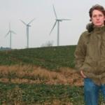 Press officer Jesper Kjems by the turbines