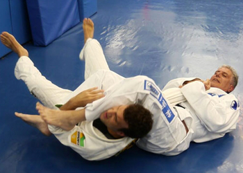 Bourdain in action on the mat.