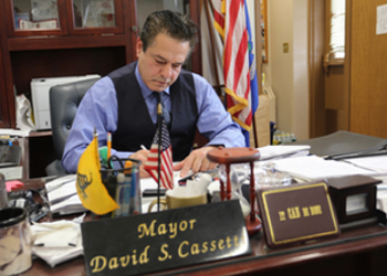 Mayor Cassetti at work.