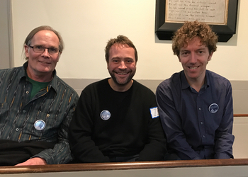 Seated in Melville's pew with Peter Whittemore and ship-mate Stephen Phelan, who organised the trip