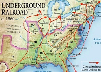 Some of the routes taken by runaway slaves on the Underground Railroad.
